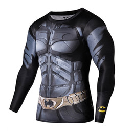 Wholesale Compression T Shirts - Wholesale-Hot Men gym compression shirt marvel superhero long sleeve t shirt tights mens sport fitness basketball base layer tshirt homme