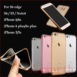 Wholesale Iphone Gold Plating Case - Ultra Slim Plating Transparent tpu soft Clear Case For iPhone 8 X 7 6S Plus Samsung Note8 S8 Plus S6 S7 Edge Plus