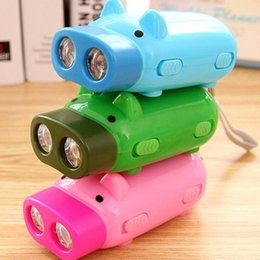 Wholesale Lamp For Up Car - Dynamo Flashlights Manual Hand Pressing Power 2 LED Protable Pig Shaped Cartoon Torch Light Crank Power Wind Up For Camping Lamp
