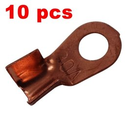 Wholesale Wholesale Motorcycle Batteries - 10 x Copper Lug Battery Cable Connector Terminal Jointing Sleeve 30A Ring Tongue