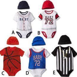 Wholesale Toddler Summer Zebra Boy - Baby Rompers 2016 Summer Boys Fashion Baseball Basketball Sport Baby Rompers + Hat for Infant Toddler Clothing NN-150