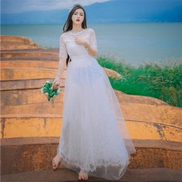 Wholesale Grace Sheath - New High Quality Explosions Leisure Vintage Elegant Dresses Women Embroidery Lace Grace Full Sleeve Spring Summer Casual Dress