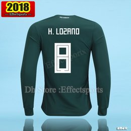 Wholesale Men Long Sleeve Shirts - 2018 Mexico World Cup long sleeve soccer jerseys 17 18 P.AGUILAR CHICHARITO G.DOS SANTOS O.PERALTA H.LOZANO football Full shirts