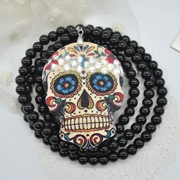 Wholesale Black Bead Skull Necklace - Hot Unique Black Beads Chains Cool Punk Skull Cross Statement Sweater Pendant Necklace Jewelry Free Shipping Y50*SS1002#M5
