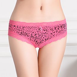 Wholesale Leopard Stretch Pants - 2015 New cheeky panties lace trim boyleg women underwear short pants stretch cotton lady brief lingerie intimate undergarment sexy hipster