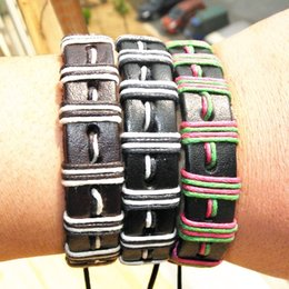 Wholesale Mix Color Braided Leather Bracelet - Fashion Genuine Leather Braided Bracelets Punk Hemp Rope Lover's Wristband Men's Handmade jewelry New women Mix color in stock 12pcs