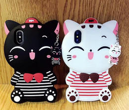 Wholesale 3d Animals Phone Covers - 3D Cute Black White Cat cartoon animal Cases For Apple iPhone 5 5S 5G SE 6 6S Plus 7 8 PLUS X Soft silicone Cat Phone Cover
