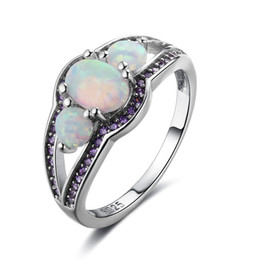 Wholesale Red Engagement Rings - Fairly Ovla Opal Stone Rings 925 Sterling Silver Opal Jewelry Charm Wedding Engagement Rings Opal Gemstone Rings