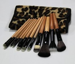 Wholesale Leopard Print Brushes - High Quality Real Tech New Professional Cosmetic 12 PCS Makeup Brush Set with Leopard Print Pouch