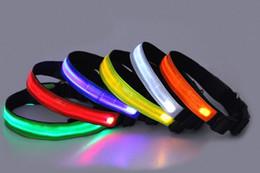 Wholesale Large Plain Dog Collar - 2015 new Pet Dog Plain Safe Night Reflective LED Flashing Adjustable Light Dog Collar pet collar