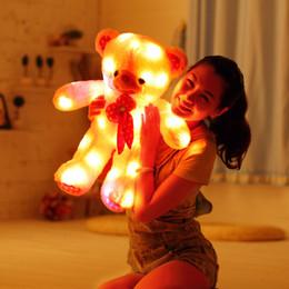 Wholesale Gift Pillow Speaker - Wholesale-80 cm flashing light toy,led tie teddy bear plush toy,kids Birthday Gift toy Cute LED glow pillow teddy bear with speaker  music