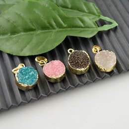 Wholesale 24k Gold Jewelry Wholesalers - New Arrivaling,10Pcs Mixed Color Drusy , 24k Gold Plated Druzy Quartz Stone Charms Pendant Jewelry Finding