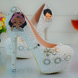 Wholesale Maids Shoes - Full Grain Leather Manual Pearl Bride Shoes The Maid of Honor Wedding Dress Shoes High Heels Pearl Fashion wedding shoes