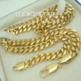 Wholesale Width 7mm - Men's 18K 18CT Gold Filled GF 7mm width 60cm or 50cm Length Chain Necklace N246