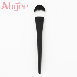 Wholesale Wood Presses - Black Kabuki Liquid Foundation Brush for Face Makeup Beauty Straight Taklon Synthetic Two Color Hair Pressed Round Tip Y-FDB018