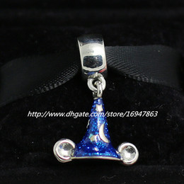 Wholesale Enamel Hat - New 100% S925 Sterling Silver Sorcerer Mickey Hat Dangle Charm Bead with Blue Enamel Fits European Pandora Jewelry Bracelets & Necklaces