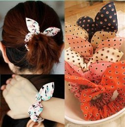 Wholesale Rabbit Ear Pony Tail - Cute Fashion Dot Rabbit Ear Pony tails holder hair band adult girls lovely design mix 50pcs  lot BA465