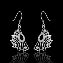 Wholesale Fans Asian - Brand new sterling silver Insets fan earrings DFMSE483,women's 925 silver Dangle Chandelier wedding gemstone earrings factory direct