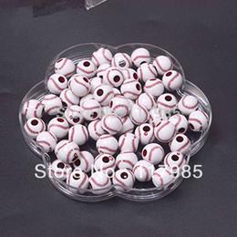 Canada Gros-Livraison gratuite Chunky perles, populaires perles de baseball acrylique 12mm, 600pcs / lot pour les bracelets Offre