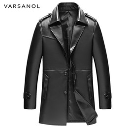 Wholesale trench coats leather sleeves - Wholesale- Varsanol Long Trench Mens PU Jackets Coats Windbreaker Leather Jackets Full Sleeve Autumn Turn-Down Collar Button Brand Clothing