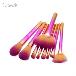 Wholesale Makeup Brushs - Transitional 9pcs Makeup Brush Set Professional Foundation Powder Eyeshadow Make Up Brushes Contour Blending Cosmetic Brushs
