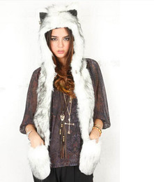 Wholesale Ear Domes - Faux Fur Hood Animal Hat Ear Flaps Hand Pockets 3in1 Animal Hood Hat Wolf Plush Warm Animal Cap with Scarf Gloves Free Shipping