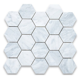 Wholesale Mosaic Mesh - 3inch tile carrarra white marble tile hexagon mosaic tile Italy carrarra white marble tiles wall mounted mesh