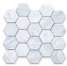 Malla de azulejos de mosaico online-3 pulgadas azulejo carrarra blanco mármol azulejo hexágono azulejo mosaico Italia carrarra blanco mármol azulejos de pared montado en la pared