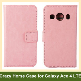 Wholesale Covers For Galaxy Ace - Wholesale Fashion Crazy Horse Pattern PU Leather Wallet Flip Cover Case for Samsung Galaxy Ace 4 LTE SM-G357FZ with Card Slot Holder