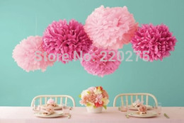 Wholesale White Wall 14 - 14 35cm 10pcs Wedding Pompoms Ball Spring Tissue Paper Pom Poms Flower Party Colors Weddings Birthday Decorations Baby Shower Wreaths