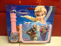 Wholesale Children Wallets Watch Set - 2 in 1 Colourful Cartoon Frozen Anna Elsa Sets Watch And PU leather Wallet Purse Wrist Quartz Watches Christmas Children Gift for Boys Girls