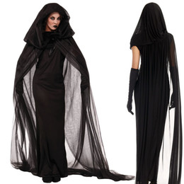Wholesale Sexy Plus Size Halloween Costumes - The Vampire Sexy Costumes Halloween Thriller Masquerade Woman Vampire Diary With Cloak Black Gloves Dress Costume Plus size