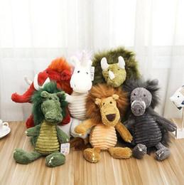 Wholesale lion doll - Cute Long Hair Animal Plush Toys 38cm Unicorn Elephant Lion Dragon Rhino Stuffed Plush Dolls LJJO3747