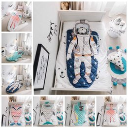 Wholesale Baby Mermaid Tails - Mermaid Tail Shark Crocodile Astronaut Kids Blanket 150*70cm Baby Sleeping Bag INS Swaddling Nursery Bedding OOA3437