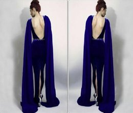 Wholesale Sexy Greek Prom Dresses - Vestido Royal Blue Greek Style Designer Red Carpet Evening Dresses Back Slit Mermaid Long Prom Party Dress Gowns Plus Size without belt