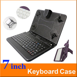 Wholesale Wholesale Keyboard Cases Ports - New Arrival 7 inch Leather PU Keyboard Stand Case Cover For 7 inch Q8 Q88 Tablet PC MID Micro USB port 50pcs colorful cheapest free shipping