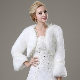 Wholesale Winter Bridal Coats Jackets - 2015 Real Picture White Winter Warm Faux Fur Shrug With Lace Edge Wedding Coats Bride Prom Party Bridal Wraps Jacket Women Bolero