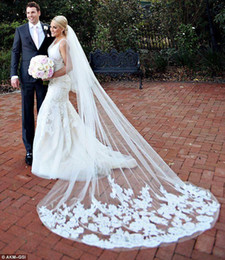 Wholesale Cathedral Veil Blusher - Beautiful Cathedral Length Long Wedding Veils Two Layers Lace Appliques White   Ivory Tulle Bridal Veil With Blusher And Comb Custom Made