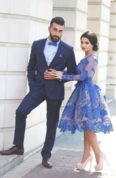 Wholesale Cheap Lace Shirts Women - Long Sleeve Knee Length Cocktail Dresses 2016 A-line Royal Blue Cheap Party Dresses Prom Formal Gowns Women Dresses for Women
