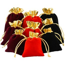 Sacos de veludo colorido pouco cordão saco de presente para colar de jóias brinco Pacote de saco de jóias de veludo bolsas saco de doces de casamento de natal de