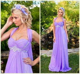 Wholesale Graceful Dresses Black Lace - 2015 New Arrival ! Prom Evening Dresses Light Purple Graceful Halter Beading Pearls Chiffon Sweep Train A-line Bridesmaid Dresses