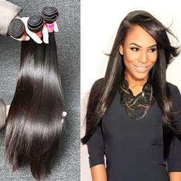 """18 polegadas de cabelo malaysian on-line-100% Cor Natural Extensões de Cabelo Da Malásia 8 """"-30"""" polegadas de Seda Em Linha Reta Cabelo Humano Tece Frete Grátis"""