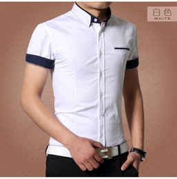 Wholesale Blast Shirt - Wholesale-2015 Summer men's short sleeve shirt fashion cultivate one's morality men's business suit type thin shirt tide blasting M-4XL