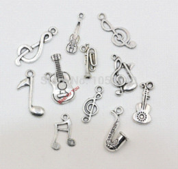 Wholesale Instrument Trumpet Silver - Mixed Tibetan Silver Musical Key Note Trumpet Instrument Charms Pendants For Jewelry Making Diy Handmade Floating Charm 120pcs
