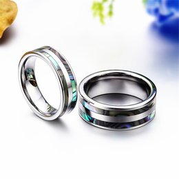 Wholesale Tungsten Abalone Inlay Ring - Fashion Jewelry Rings 8mm Top Quality Tungsten Carbide Ring with Double Abalone Shell Inlay for Men Engagement Wedding Bands anillos hombre