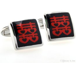 Wholesale Double Happiness Cufflinks - Wets new Double Happiness Wedding Yan will Rimmon French cufflinks Cufflinks Cufflinks
