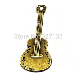 Wholesale Wholesale Vintage Guitars - Free Shipping New Fashion Jewelry 30 pcs Vintage Ancient Bronze Music Guitar Charms Pendant DIY Jewelry Accessories 67x23mmS5659