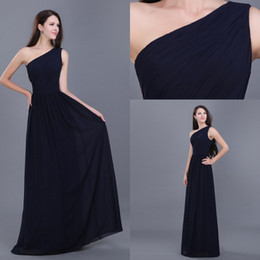 Wholesale Stocked One Shoulder Bridesmaid Dresses - In Stock Navy Blue Prom Evening Dresses With Sexy One Shoulder Empire Chiffon Bridesmaid Dress Long Formal Pageant Party Gowns Real Sample