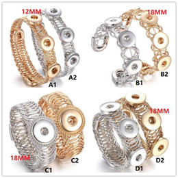 Wholesale Wholesale Bangle Cuff Watches - NOOSA 12mm 18MM Snap Button Bracelet Three Buttons Snap Cuff Bangles Adjustable Elastic Snap Bracelet Watches One Direction