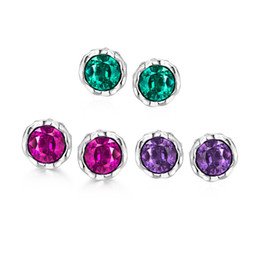 Wholesale 14k White Gold Emerald Earrings - Big Round Three colors Styles stud earrings white rose golden e040-b gift Free 2016 Fashion New Jewelry Brincos de Prata